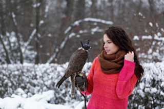 Model with a falcon