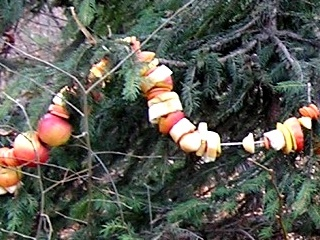 Decorate a tree with a chain made with fruits