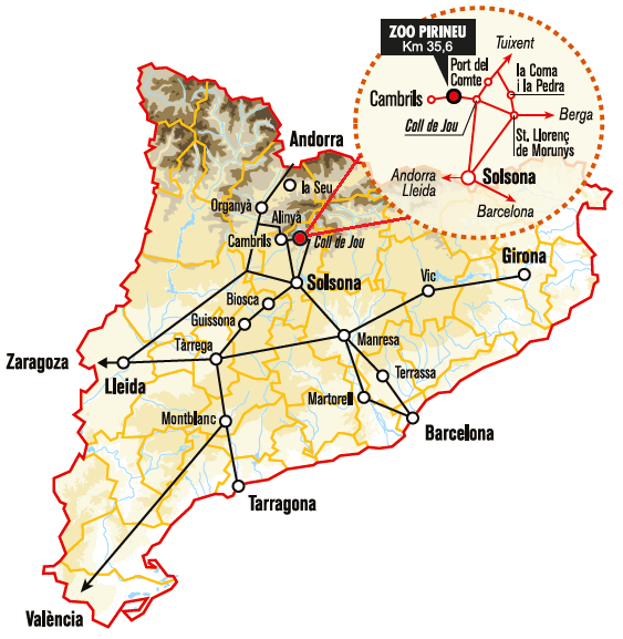 A map with the indication where is a zoo of the Pyrenees