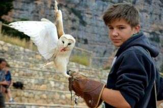 Lukas with an owl