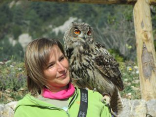 Stania with an eagle-owl